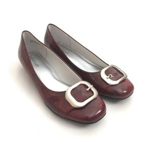 Kelly & Katie Faux Patent Leather Red Buckle Flats
